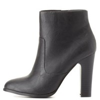 Chunky Heel Ankle Booties by Charlotte Russe - Black