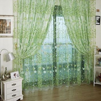 Floral Printed Tulle Curtains Voile Door Window Curtain Sheer Drape Panel