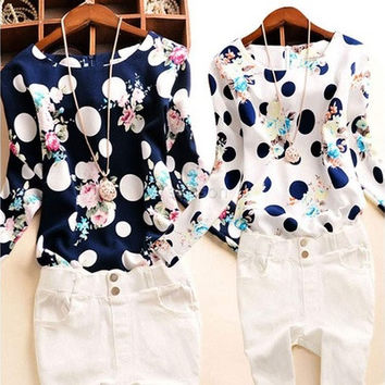 Women Lady Polka Dot Floral Printed O-Neck Long Sleeve O-Neck Top Blouse 01-014