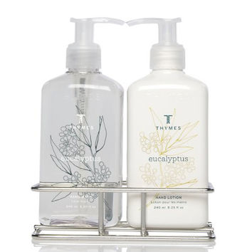 Thymes Sink Set, Chrome Caddy with Hand Wash and Lotion, Eucalyptus