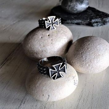 Mens cross ring, statement cross ring, black rock style ring, engraved cross ring, unisex chunky brutal style ring, gift for him