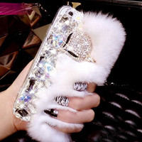 Handmade Bling Crystal Fox Rhinestone Genuine Rabbit Fur Case for iPhone 5s 6 6s Plus Samsung Galaxy S6