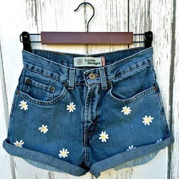 Levis high waisted denim shorts Hippie shorts festival clothing distressed ripped jean cut off shorts