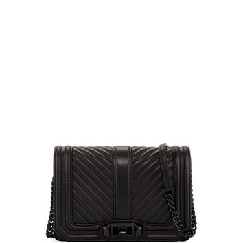 Rebecca Minkoff Chevron Quilted Love Crossbody Bag, Black
