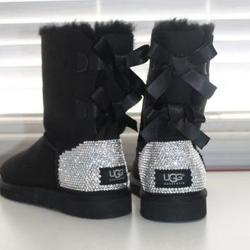 Women Ugg Australia Bailey Bow Boots made w Swarovski Crystal Elements Size 16ss ANY C