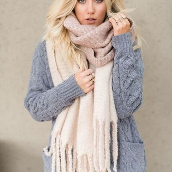 Cameron Brushed Plaid Scarf - Blush