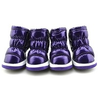 Purple Quilted Waterproof Dog Snow Boots Pet Shoes