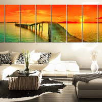 LARGE WALL Art Sea and Red Sunset Extra Large Wall Art Canvas Print,  Large Seascape Ocean and Beach Canvas Prints