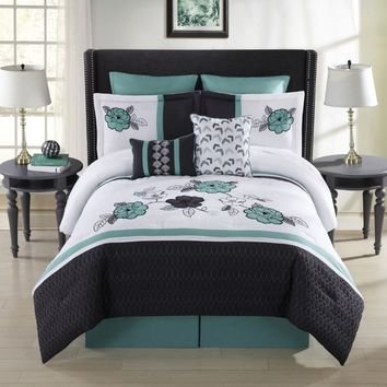 Elyse 8-Piece Comforter Set in Aqua/Multi