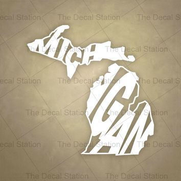 Michigan Vinyl Decal Sticker for Car Truck Auto. Word Art . US State Pride.