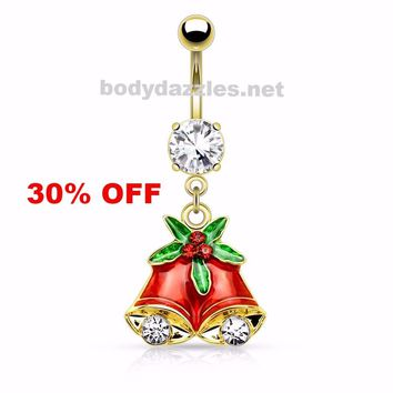 Holiday Gold Gemmed Mistletoe and Bell Dangle Navel Ring Belly Button Ring 14ga Surgical Stainless Steel