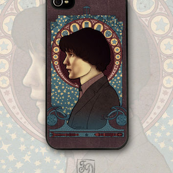 Iphone 4 / 4s hard or rubber case 11th Doctor / Doctor Who /TARDIS / art nouveau