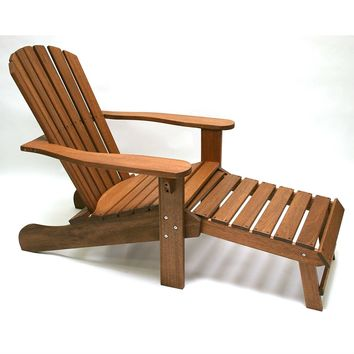 Outdoor Eucalyptus Wood Patio Adirondack Chair with Slide-out Ottoman