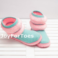 Crochet Boots Mint Rose Pink Candy Pastel Stripes for the Home Slippers Women Boots