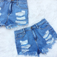Frayed for You Denim Shorts