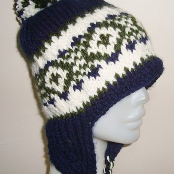 Hand Knitted Hat Mens Hat Fishing Hat The Oversized with Ear Flaps in Blue Cream Green