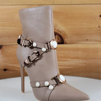"Mac J Taupe Pointy Toe Gold Buckle Harness Strap Ankle Boot - 5"" High Heel"