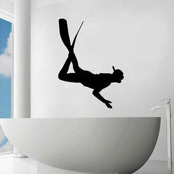 DIVER WALL DECALS DECAL VINYL STICKER BATHROOM DECOR DIVING SPORT ART MURAL N197