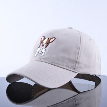 French Bulldog Embroidered Curved Brim Baseball Cap Beige Dad Hat