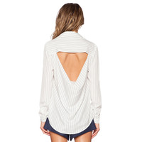 Black and White Striped Long Sleeve Back Cut-out Blouse