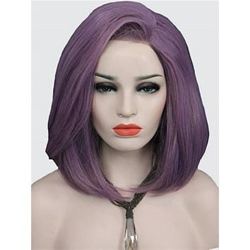 Short Ash Purple Bob Synthetic Lace Front Wig