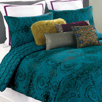 Nanette Lepore Villa Teal Baroque Comforter and Duvet Cover Sets