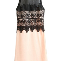 ROMWE Lace Mesh Panel Sleeveleess Pink Dress
