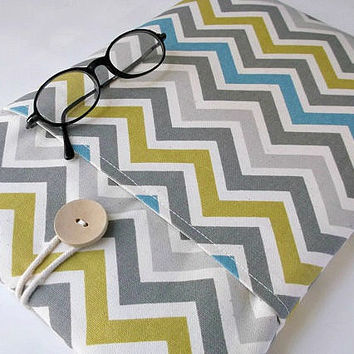 iPad Pro Case, iPad models 4 3 2 1, ipad Air Sleeve, Chevron Portable Laptop Cover Gadget Tablet Bag Gray Blue Yellow Fabric Mens Womens Sac