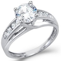 Size - 9 - Solid 925 Sterling Silver Solitaire Round CZ Cubic Zirconia Engagement Ring 1.5ct