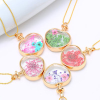 Top Quality 1 Pcs Gold Plated Dried Flowers Plant Specimen Heart Glass Floating Living Locket Charms Pendants Necklace