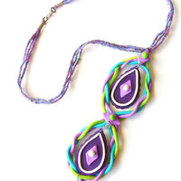 Braided polymer clay necklace, infinity necklace, polymer clay pendant, purple jewelry, fantasy jewelry, portal necklace, festival wear