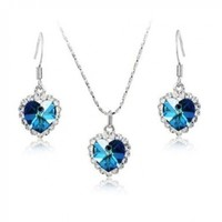 Fashion Plaza Cubic Zirconia Crystal Heart of the Ocean Titanic Necklace Earrings Jewelry Set S19