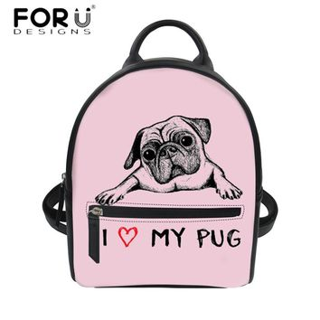 I Love My Pug Women's Vegan Leather Backpack