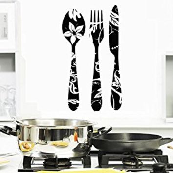Wall Decal Vinyl Sticker Decals Art Decor Design Kitchen Stuff Fork Spoon Knife Vintage Pattent Cutlery Silverware Dining Room (r1095)