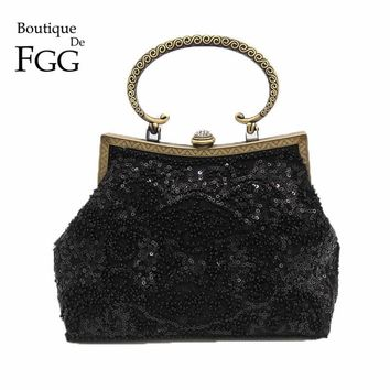 Bronze Plated Frame Women Black Sequined Evening Totes Bag Vintage Beaded Wedding Clutch Bridal Handbags Purses Metal Clutches