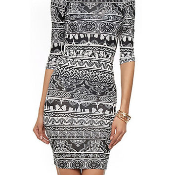 Black and White Deer Print Half Sleeve Bodycon Mini Dress