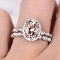 Oval Morganite Engagement Ring Sets Open End Diamond Band 14K White Gold 7x9mm