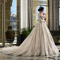 2016 Vintage Ball Gowns Wedding Dress Lace Long Sleeve Beading Vestido De Noiva Sexy V neck Backless Cathedral Train Bridal Gown