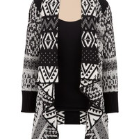 Contrast Pattern Open Front Cardiwrap with Lurex