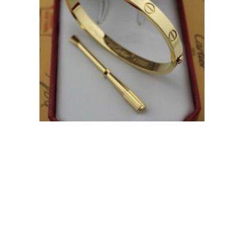 Cartier 18K Yellow Gold LOVE Bangle Bracelet Size 17 New barely worn.