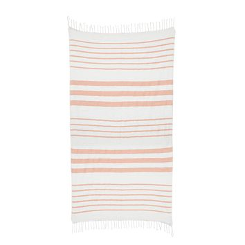 Striped Cotton Beach & Bath Towel - Dusty Pink