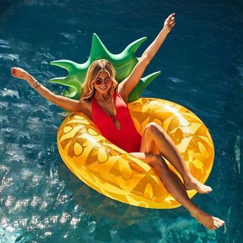 Summer Island Giant Pool Float Inflatable Pineapple Swim Ring Tube Lounge Floating Bed Water Mattress Inflatable Donut Pool Toys