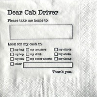 Dear Cab Driver napkins « Randommization