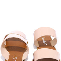 Time to Chill Blush Patent Slide Sandals