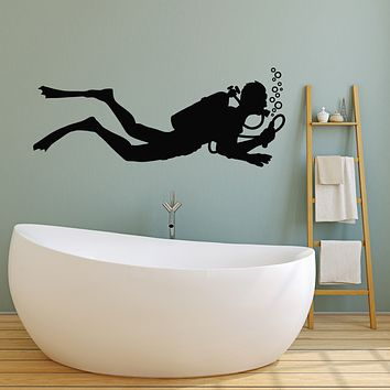 Vinyl Wall Decal Diving Club Extreme Sport Scuba Diver Underwater Swimming Stickers Mural (g604)