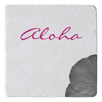 Hawaiian Dreams in Black and White Trivet