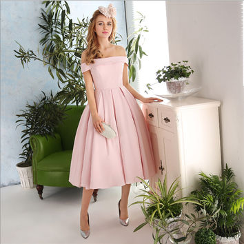 Real Pictures Vintage Off the Shoulder Tea Length Cocktail Dresses Pink Abito da Sera Formal Dresses For Juniors Women Elegant