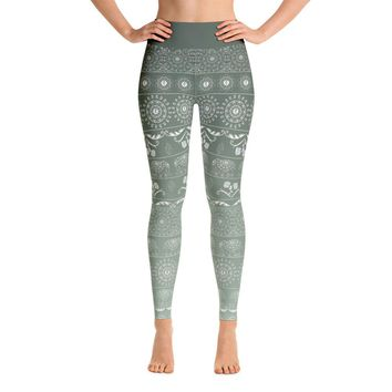 Elephant Mandala in Green Yoga Leggings