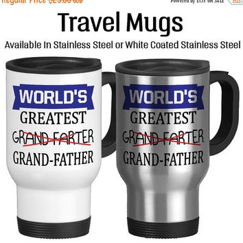 Travel Mug, Worlds Greatest Grand Farter/ Grand Father Funny Grandpa Joke Best Grandfather, Gift Idea, Stainless Steel 14 oz Coffee Cup