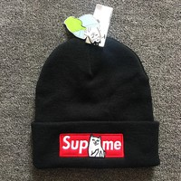 street fashion supreme cat embroidered hat knitwear